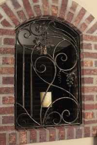 Wine cellar window grate, forged iron